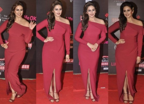 Huma-Qureshi-Shows-Curves-In-Nikhil-Thampi-Figure-Hugging-Dress-20th-Annual-Life-Ok-Screen-Awards-590x427