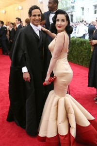 Zac Posen and Dita von Teese in a dress by the designer.
