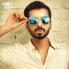 Blue Mirrored Round Sunglasses
