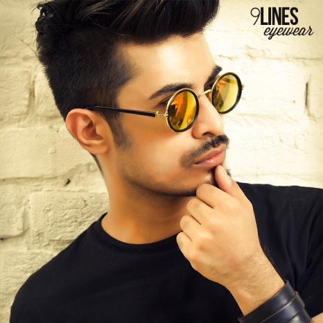 Orange with Black Rim Mirrored Round Sunglasses